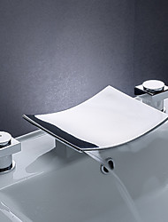 Contemporary Widespread Waterfall with  Ceramic Valve Three Holes Two Handles Three Holes for  Chrome , Bathroom Sink Faucet