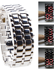 Silvery Metal Strip Digital Lava Style Iron Sport Womens Red LED Faceless Wrist Watch Cool Watches Unique Watches
