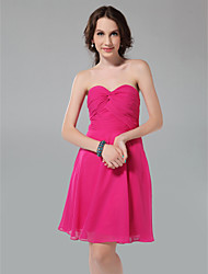 A-Line Princess Strapless Sweetheart Knee Length Chiffon Bridesmaid Dress with Criss Cross Ruching by LAN TING BRIDE®