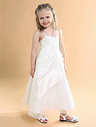 A-Line Princess Floor Length Flower Girl Dress - Satin Tulle Sleeveless Spaghetti Straps with Appliques by LAN TING BRIDE®