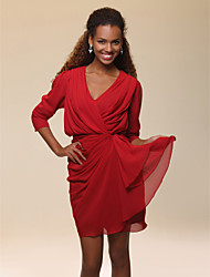 cheap -Sheath / Column V Neck Short / Mini Chiffon Celebrity Style Cocktail Party Dress with Draping / Side Draping by