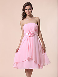 A-Line Princess Strapless Knee Length Chiffon Bridesmaid Dress with Draping Flower(s) Sash / Ribbon by LAN TING BRIDE®