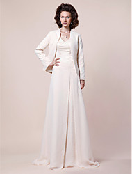 cheap -A-Line V-neck Sweep / Brush Train Chiffon Satin Mother of the Bride Dress with Beading Draping Side Draping by LAN TING BRIDE®