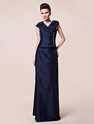 cheap -Sheath / Column V-neck Floor Length Taffeta Mother of the Bride Dress with Buttons Draping by LAN TING BRIDE®