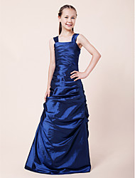 A-Line Princess Straps Floor Length Taffeta Junior Bridesmaid Dress with Side Draping Ruching by LAN TING BRIDE®