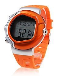 Hommes Montre de Sport Numérique LCD Pulsomètre Calendrier Chronographe penggera Caoutchouc Bande Orange Marque