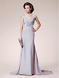 cheap -A-Line Straps Court Train Chiffon / Lace Mother of the Bride Dress with Beading by LAN TING BRIDE®