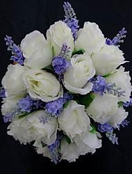 Bouquet sposa Tondo Rose Bouquet Matrimonio Partito / sera Raso Bianco 25cm