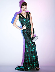 Sheath / Column Mermaid / Trumpet V-neck Sweep / Brush Train Sequined Formal Evening Military Ball Dress with Sequins by TS Couture®