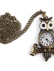 Relógio de Bolso Quartzo Banda Corujas Bronze