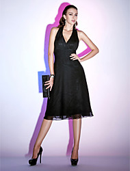 Sheath / Column Halter Knee Length Chiffon Cocktail Party Homecoming Holiday Dress with Ruching Criss Cross by TS Couture®