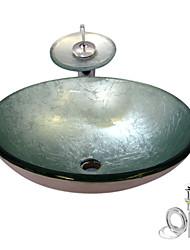 Недорогие -Современный Круглый Раковина Материал является Закаленное стекло умывальник для ванной смеситель для ванной монтажное кольцо для ванной