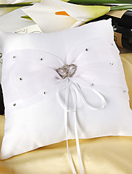 Ring Pillow In White Satin With Rhinestones Double Hearts