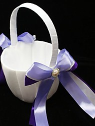 cheap -Flower Girl Basket With Double Ribbons And Faux Pearl Wedding Ceremony