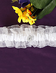 cheap -White Organza and Satin Rose Bridal Garter Wedding Accessories