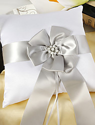 White Satin Ring Pillow With Silver Sash And Peal Wedding Ceremony