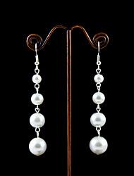 economico -perle imitazione con orecchini da sposa in placcatura in lega stile elegante