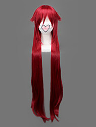 Cosplay Wigs Black Butler Grell Sutcliff Red Long Anime Cosplay Wigs 90 CM Heat Resistant Fiber Male