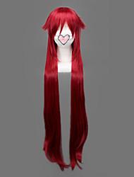 abordables -Pelucas de Cosplay Black Butler Grell Sutcliff Rojo Largo Animé Pelucas de Cosplay 90 CM Fibra resistente al calor Hombre