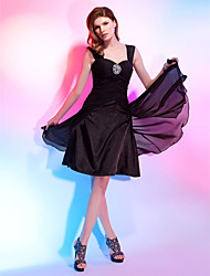 cheap -A-Line / Princess Sweetheart Neckline / Straps Knee Length Chiffon Little Black Dress Cocktail Party Dress with Beading / Draping / Criss Cross by TS Couture®