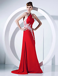 A-Line Princess Halter Sweep / Brush Train Chiffon Prom Formal Evening Dress with Appliques Side Draping by TS Couture®
