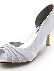 cheap -Shoes Satin Spring Summer Stiletto Heel Ruched for Wedding White Black Silver Red Ivory