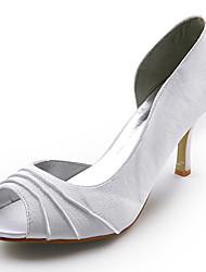 raso tacco alto a stiletto peep toe scarpe da sposa