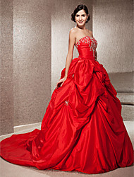 Ball Gown Strapless Chapel Train Taffeta Wedding Dress with Beading Embroidered Pick-Up by LAN TING BRIDE®