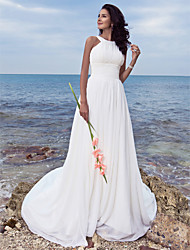 A-Line Jewel Neck Sweep / Brush Train Chiffon Wedding Dress with Draped Ruche by LAN TING BRIDE®