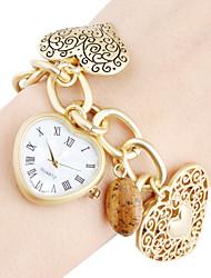 Orologio-bracciale al quarzo, da donna, a forma di cuore - Oro