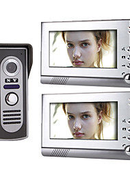 cheap -7 Inch Color TFT LCD Video Door Phone  System (1 Camera with 2 Monitor)