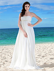 A-Line Strapless Floor Length Chiffon Wedding Dress with Beading Sash / Ribbon Ruche Side-Draped by LAN TING BRIDE®