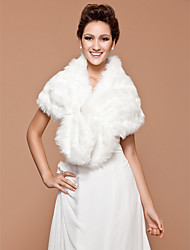 cheap -Sleeveless Faux Fur Wedding Party Evening Fur Wraps Wedding  Wraps With Beading Shrugs