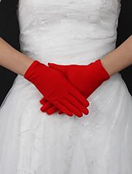 preiswerte -Seide Handgelenk Länge Handschuh Braut Handschuhe klassisch femininen Stil
