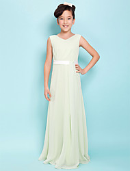 cheap -Sheath / Column V Neck Floor Length Chiffon Junior Bridesmaid Dress with Sash / Ribbon Side Draping by LAN TING BRIDE®