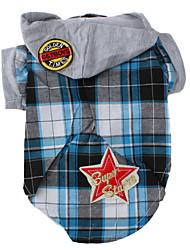 economico -Cane T-shirt Felpe con cappuccio Abbigliamento per cani Di tendenza A quadri Blu Costume Per animali domestici