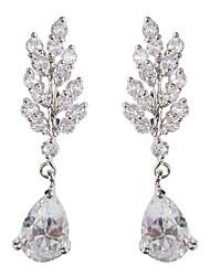 billige -Dame Ørering Kvadratisk Zirconium Mode Platin Dråber Smykker Daglig Kostume smykker