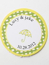 cheap -Personalized Round Favor Stickers – Umbrella (Set of 36) Wedding Invitations