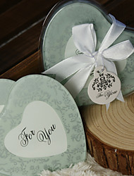 cheap -Frosted Damask Print Heart Photo Coasters (Set of 2) Wedding Favors