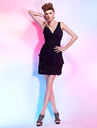 cheap -Sheath / Column V Neck Short / Mini Chiffon / Lace Cocktail Party Dress with Sequin / Lace / Side Draping by TS Couture®