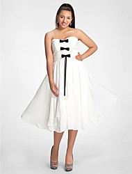A-Line Princess Strapless Sweetheart Tea Length Chiffon Cocktail Party Dress with Bow(s) Draping Side Draping by TS Couture®