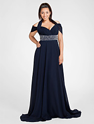 Sheath / Column Halter Off-the-shoulder Sweep / Brush Train Chiffon Evening Dress with Beading by TS Couture®