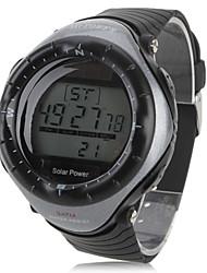 Homens Relógio Esportivo Relógio de Pulso Digital Alarme Calendário Cronógrafo Solar LED Cronômetro Borracha Banda Legal Preta
