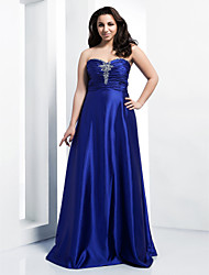 A-Line Princess Strapless Sweetheart Floor Length Stretch Satin Prom Dress with Crystal by TS Couture®