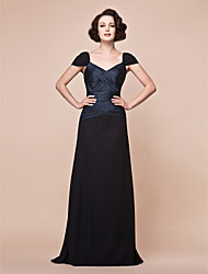 cheap -A-Line V Neck / Straps Floor Length Chiffon / Stretch Satin Mother of the Bride Dress with Criss Cross / Ruched by