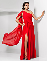 cheap -Sheath / Column One Shoulder Floor Length Chiffon Formal Evening / Military Ball Dress with Ruffles Split Front by TS Couture®