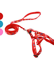 cheap -Dog Harness Leash Slip Lead Footprint/Paw Textile Red Blue Pink