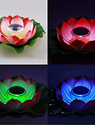 cheap -Solar Powered Color Changing Floating Lotus Flower Garden Pool Night Lamp