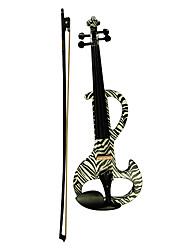 Недорогие -Kinglos - (DSZA-1302) Ebony частей Электрические скрипки с Case / Канифоль / Bow / Наушники / Кабель (Zebra-Stripe)