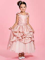 cheap -A-Line Ankle Length Flower Girl Dress - Taffeta Sleeveless Bateau Neck with Pick Up Skirt Sash / Ribbon Flower Ruched by LAN TING BRIDE®